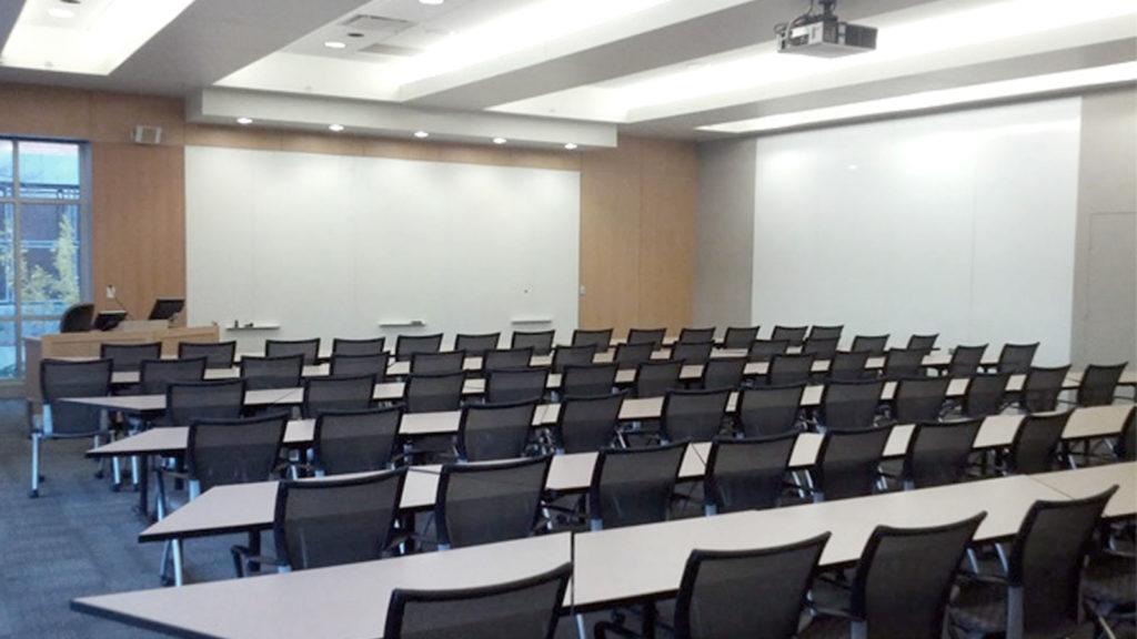 Room 2110, 75-person classroom, Alumni Hall, Reception Space