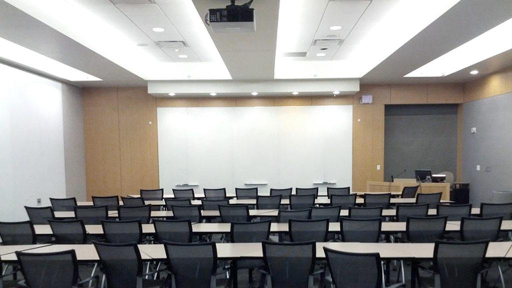 Room 2120, 75-person classroom, Alumni Hall, Reception Space