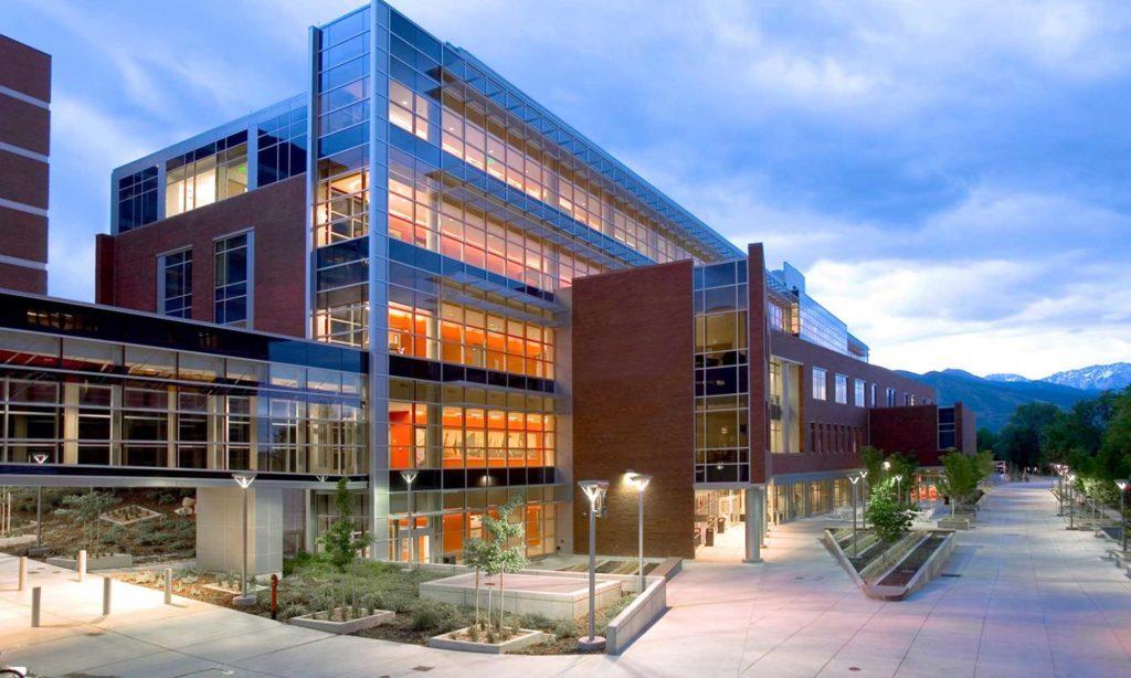 Eccles Health Sciences Education Building, westside, dusk